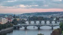 Vltava river and bridges in Prague Stock Footage