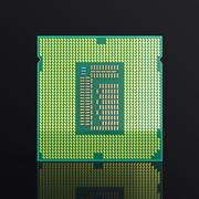 3d illustration computer PC CPU chip electronics industry concept, close-up view Piirros