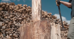 Sliver of wood chopped in half @ 24fps Stock Footage