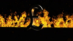 Pound Sign Burning Hot Word in Fire Stock Footage