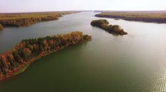 River in autumn, aerial view by drone Stock Footage