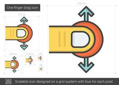 One-finger drag line icon Stock Illustration