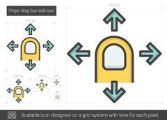Finger drag four side line icon Stock Illustration