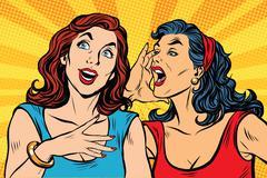 Two girls pop art scream Stock Illustration