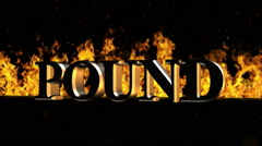 Pound Burning Hot Word in Fire Stock Footage
