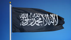 Jihad flag in slow motion seamlessly looped with alpha Stock Footage