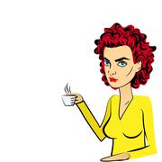 Angry woman red hair pop art drinking coffee Piirros