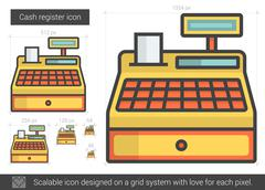 Cash register line icon Piirros
