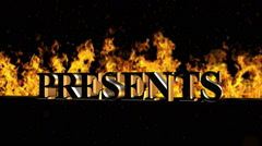 Presents Burning Hot Word in Fire Stock Footage