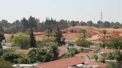 Overlooking rooftops of homes in Tel Aviv Stock Footage