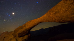 Astro Timelapse of Milky Way Rising over Arch Rock in Alabama Hills -Zoom Out- Stock Footage