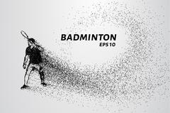 Badminton consists of particles. Badminton player preparing to receive serve. Stock Illustration