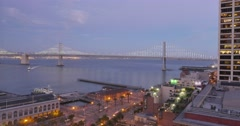 Sunset Timelapse Over San Francisco Bay Bridge Stock Footage