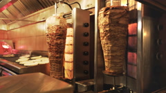 Gyros rotisseries in a restaurant in athens, greece Stock Footage