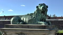 Lion Statue in Rosenborg Palace Grounds Medium shot Stock Footage