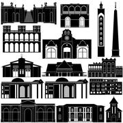 Contour image of architectural landmarks Stock Illustration