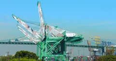 Trucks move cargo containers on the bridge at sea port in Los Angeles port 4K Stock Footage