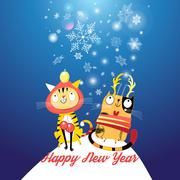 Funny cats in the New year Stock Illustration