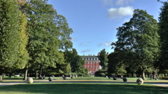 Long shot of Rosenborg Palace Grounds in Central Copenhagen Stock Footage