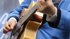 Musician playing vintage the guitar close-up Stock Footage
