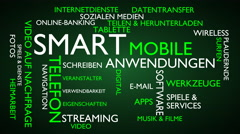 Smart, mobile, applications word tag cloud - green, German variant Stock Footage