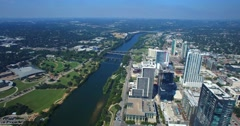 Aerial Footage - Panning Shot Downtown Austin & The Long Center Stock Footage