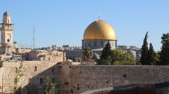 View looking over wall to Dome of the Rock Stock Footage