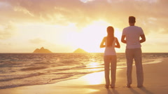 Yoga, meditation and wellness lifestyle concept on sunset beach Stock Footage