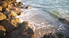 Sea waves at sand beach Stock Footage