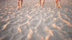 Barefoot walking at beach Stock Footage