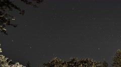 Early Autumn Starry Night Sky - Time Lapse Stock Footage