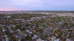 Aerial view of residential neighborhood with view of downtown Denver. Stock Footage