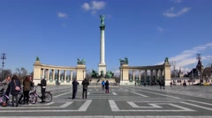 4K footage of the Heroes Square, one of the great squares in Budapest Stock Footage