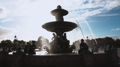Beautiful fountain at Place de la Concorde square in Paris Stock Footage