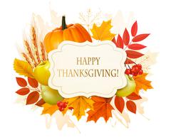 Happy Thanksgiving background with colorful autumn leaves and fruit. Vector. Stock Illustration