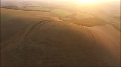 Aerial views of Iron Age fort on Mount Caburn, East Sussex Stock Footage