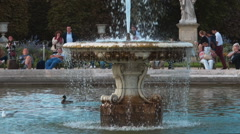 The fountain at Tuileries Gardens in Paris - great place to relax Stock Footage
