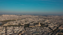 Aerial view over the big city of Paris with Notre Dame cathedral Stock Footage