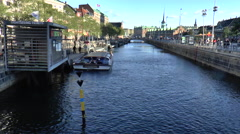View over Canal Near Christiansborg Palace in Copenhagen Stock Footage