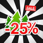 -25, sale, discount, new year, Christmas tree, vector Stock Illustration