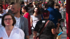 Big crowd of people walking on Champs Elysee in Paris Stock Footage