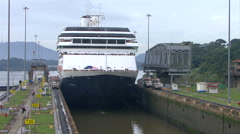 Panama Canal, Panama Cruise ship (Hollandamerica cruise Line) in Panama  Stock Footage