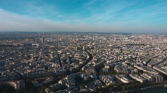 Wide angle aerial view over Paris Stock Footage