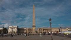 Famous Place de la Concorde - big square in Paris with obelisk Stock Footage