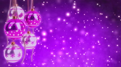 Purple and silver christmas balls with glitter bokeh background. Seamless loop Stock Footage