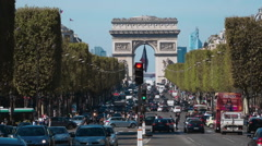 Street Traffic on Champs Elysee with Arc de Triomphe Stock Footage