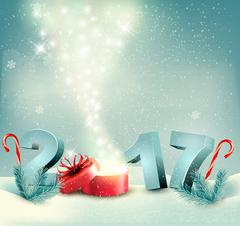 Happy new year 2017! New year design template Vector illustration Stock Illustration