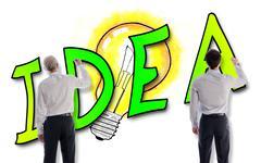 Idea concept drawn by businessmen Stock Photos