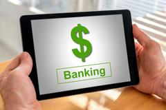 Banking concept on a tablet Stock Photos