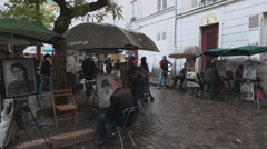 Montmartre Paris - Square of artists and painters Stock Footage